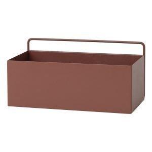 Ferm Living Wall Box Kukkalaatikko Suorakaide Punaruskea