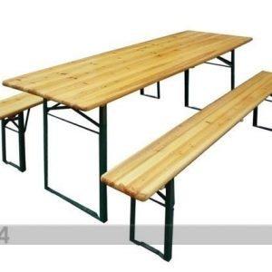 Funrent Kokoontaitettavat Puutarhakalusteet Pöytä 50x220 Cm+2 Penkkiä