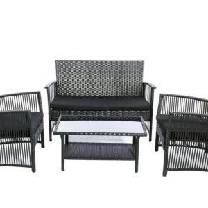 HANIA Terassikalusteet 2 tuolia ja sohva ja pöytä