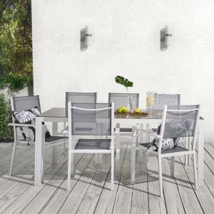 Koodi Frappe Puutarhakalusteet: Pöytä Ja 6 Tuolia Harmaa Valkoinen