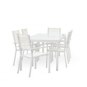Koodi Frappe Ruokaryhmä 6:Lle: Pöytä Ja 6 Tuolia Valkoinen
