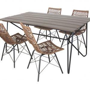 Koodi Ruokaryhmä 4:Lle: Ruokapöytä Ja 4 Tuolia Ruskea