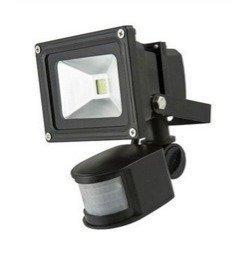 LED valonheitin 230V WORK BLACK 10W 4500K liiketunnistimella