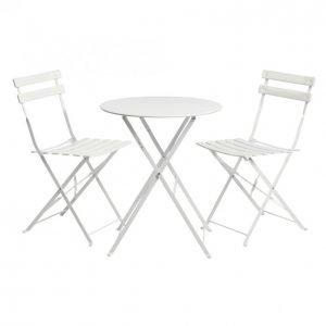 Tok Garden Parvekesetti Valkoinen Pöytä+2tuolia