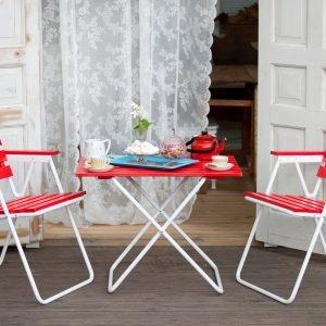 Varax Retro Puutarhapöytä 50x75 Cm Valkoinen Punainen